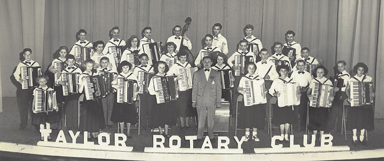 High School Accordian Band in the 1950s