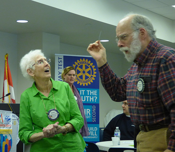 Clebrating Rotarian's Biethday