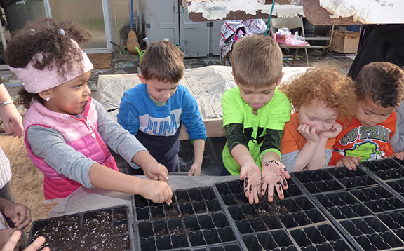 Children at Hoop House